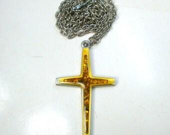 Vintage Pewter Christian Cross Pendant w Chain, Modernist Design 1960s, w Golden Abalone Chips in Resin,  Christian Religious Symbol