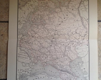 1890 Political Map of European Russia Antique Illustration