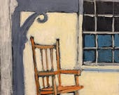 "Northern Porch - Original Acrylic Oil Encaustic Still Lofe Painting - 8""x 10"""