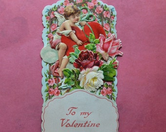 Vintage German Fold Out Valentine Card Roses Cupid Heart