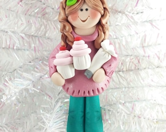 Baker Christmas Ornament - Cupcake Baker's Gift - Cupcake Baker Ornament - Baker's Gift - Baker Christmas Ornament - 153