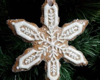 Snowflake Cookie Christmas Ornament Glass Glittered Sparkly Gingerbread Winter OOAK Heirloom Gift Non-edible