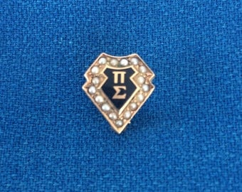Vintage 10K Gold with Pearls Fraternity Pin Pi Sigma Retro Estate Jewelry College University Old School