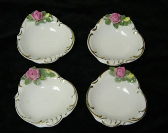Vintage Lot of 4 Fancy 1960's Rose DRESDEN China Tea Bag Holders