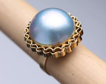 Vintage 14k gold large MABE PEARL cocktail statement ring south sea sz 8.5