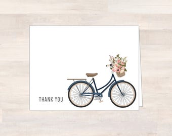 Wedding Thank You Cards, Vintage Bicycle, Blue, Pink, Eggshell White Card, Wedding Thank You Cards, Note Cards, Blank Stationery, Sets of 10