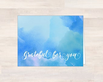 GRATEFUL FOR YOU, Watercolor Thank You Cards, Blank Watercolor Note Cards, Blue Watercolor Cards, Note Card Set, Blank Notecards, Thankful