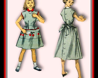 Vintage 1953-GIRL'S APRON DRESS-Sewing Pattern-Two Style-Cobbler Apron-Three Big Front Pockets-Button Back-Bias Binding Trim-Size 8-Rare