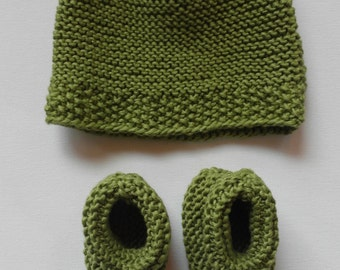 cotton baby set / newborn hat and booties