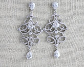Bridal earrings, Bridal jewelry, Wedding earrings, Chandelier earrings, Rose gold earrings, CZ earrings, Statement earrings Crystal earrings