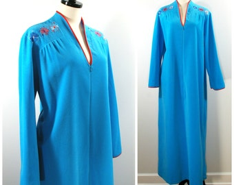 Vintage Velour Robe, 70s Turqouise Blue Velour Bathrobe with Floral Embroidery Red Trim, JC Penney Long Front Zip Caftan Loungewear Robe