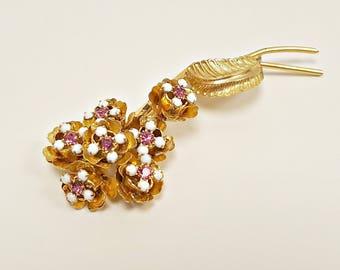 Vintage Flower Brooch, Pink Flower Rhinestone Brooch, Prong Set Large Flower Rhinestone Pin, 60s Costume Jewelry