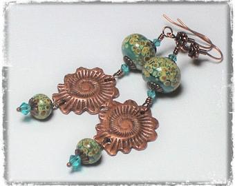 Handmade, Jewelry, Earrings, Beaded, Lampwork, Antique Copper, Teal, Turquoise, Raku, Earthy, Boho, Artisan, Lampwork Earrings, Nautilus