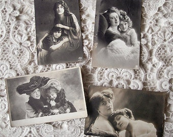 Antique French photo postcard lot, Antique pretty woman and children lot, Antique mother and daughter RPPC, Antique Sister RPPC, RPPC lot