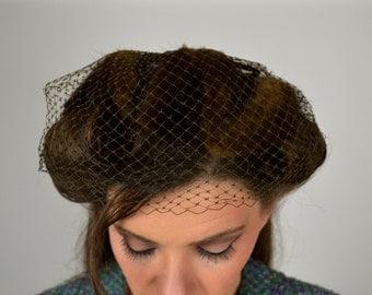 Vintage Veiled Hat, Fur Hat, Mink Hat, Veil Hat, Cocktail Hat, Fur Hat, Hat Netting,  Millinery Fur Hat, Mink Fascinator 1950s Ladies Hat