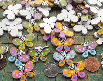25 wood butterfly buttons, 2 hole, cartoon, sewing, crafts, colorful, scrapbooking, maker, whimsical, butterflies