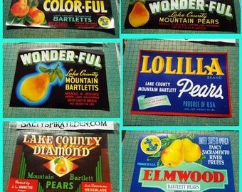 Vintage Fruit Box Labels, Bartlett Pears, Lake County, California, Lolilla,  Wonder-Ful, Color-ful, Elmwood, Mountain Bartletts
