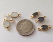 NEW.. Labradorite, Garnet, Moonstone Gemstone Link Connectors, Bezel,  mm, 24k Gold Vermeil, double bail small oval sgc gcl2.B