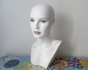 vintage mannequin head, woman bust, hat jewelry display, wig stand, department store mannequin