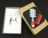 Hair Stylist or Hair Dresser Earrings.  Dangle Earrings.  With Hand Decorated Box.   Handmade by Me.  Comb and Blow Dryer Charm.