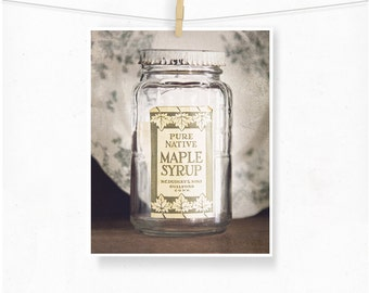 Maple Syrup Jar Photograph, Rustic Photography, Rustic Home Decor, Antique Vintage Style, Maple Syrup, Connecticut, Farmhouse Style, Country