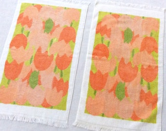2 Vera Guest Towels Orange Tulips Terry Cloth