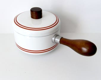 White Enamel Sauce Pot with Red Stripes and Lid