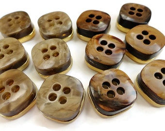 Mid Century Vintage Buttons - 6 Your Choice Chocolate or Fawn 5/8 inch 15mm for Suit Blazer Jewelry Supplies Beads Sewing Notions Knitting