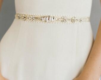 "Art deco modern wedding belt with crystal detail ""Taylor"""