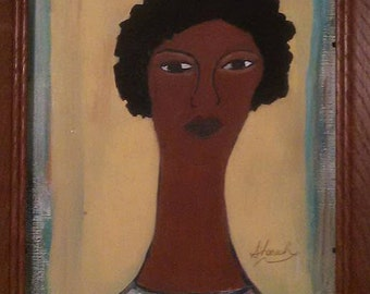 clearance art,black woman painting ,yellow white blue art work,african american art,black woman art