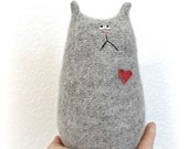 Stuffed Animal Cat Doll - Gray Angora Cat - Fluffy Cat - Gray Cat - Cat Lover Gift - Soft Toy - Plush Toy - Stuffed Toy - Gray Kitten Doll