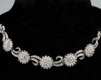Elegant Vintage PENNINO Diamente Floral, Pave Rhinestone Ribbon Bracelet