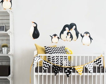 Wall Decals Penguins, 7 Playful Penguins Eco-friendly Fabric Wall Decals Removable and Reusable Decal Stickers