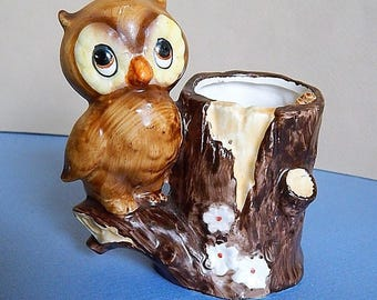 1970's Owl Toothpick Holder by Josef Lorrie Design Made in Japan