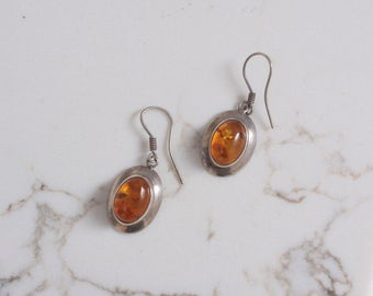 Vintage 70s Amber EARRINGS / 1970s Sterling Silver Drop Pierced Earrings