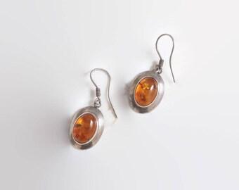 Vintage 70s Amber EARRINGS / 1970s Sterling Silver Drop Pierced Earrings