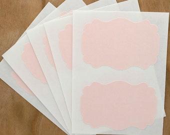 Pastel Pink Labels Sticker Rectangle Flourish