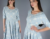 Rhinestone Embroidered Dress Baby Blue Dress Ina Heddy Dress 50s Linen Dress Elbow Length Sleeves