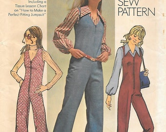 Simplicity 9624 UNCUT 1970s Perfect Fitting Jumpsuit and Blouse Vintage Sewing Pattern Size 10 Bust 32.5