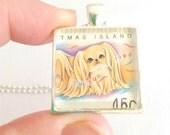 pekingese dog necklace, dog pendant, 1994 Year of the Dog postage stamp necklace dog pekingese kawaii