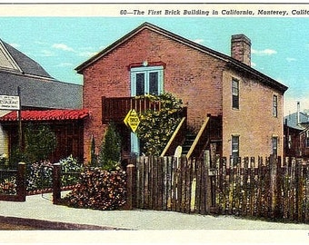 Vintage California Postcard - California's First Brick House, Monterey (Unused)
