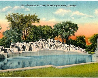 Vintage Chicago Postcard - The Fountain of Time in Washington Park (Unused)