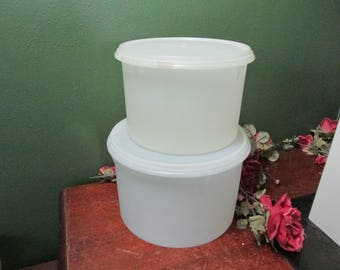 Tupperware Canisters Set of 2 Econo Round 1970s White