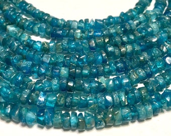Apatite rustic heishi rondelles whole strand nice deep color