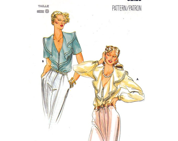 Ruffled Blouse Sewing Pattern Butterick 6957 Low Cut Feminine Blouse Short or Long Sleeve Size 8