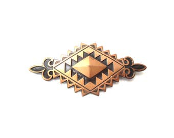 Striking Vintage Southwestern Geometric Black Enamel & Copper Metal Fleur de Lis Unmarked Brooch