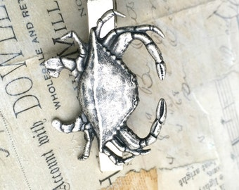 Silver Crab Tie Clip Crab Tie Bar Nautical Beach Wedding Gift for Him Groomsman Gift Steampunk Crab Ocean Gift for Dad Men's Accessories