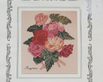 vintage 1996 cross stitch pattern the Lilac Studio inc. Begonias by Cindy Rice