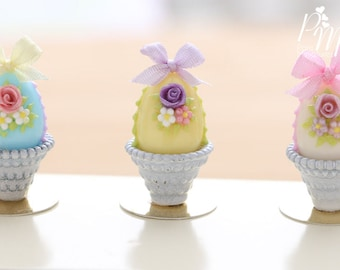 Pastel Candy Easter Egg Decorated with Rose, Blossoms, Silk Bow, in Shabby Chic Pot - (H) - Miniature Food in 12th Scale