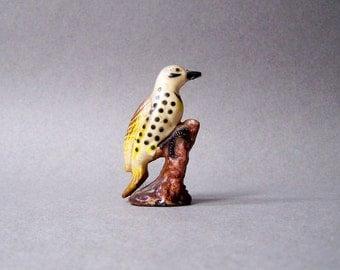 Vintage Bird Figurine Miniature Yellow Spotted Plastic Perching Bird